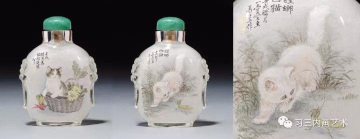冀派內畫泰斗鼻煙壺內畫大師王習三 - 《螳螂白猫》1975年创作